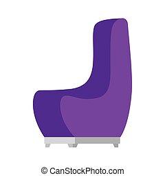 chaise, isolé, conception, pourpre, vecteur