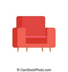 chaise, isolé, rouges, conception, vecteur