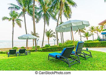 chaise, jardin, plage