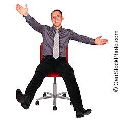 chaise, jeune, bureau, homme