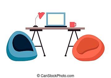 chaise, lieu travail, bureau bureau