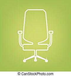 chaise, ligne, bureau, icône