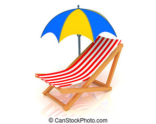 3d render of chaise longue and umbrella.