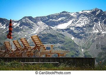 chaise-longue, bois, montagne