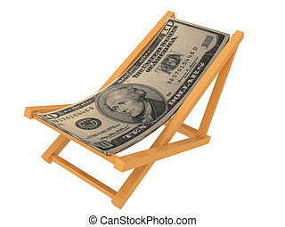 Chaise longue made of money. Isolated on white background.