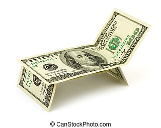 Chaise longue made of money