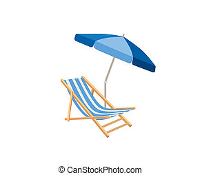 Chaise longue, parasol. Deck chair summer beach resort symbol of holidays