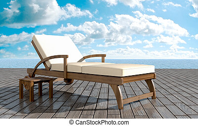 chaise longue in front of sea in summer day