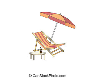 Chaise longue, table, parasol. Deck chair summer beach resort symbol of holidays