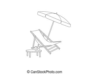 Chaise longue, table, parasol isolated. Deckchair outline drawing. Deck chair, table, parasol- summer sunbath beach resort symbol of the holidays