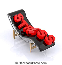 chaise longue with relax written 3d illustration