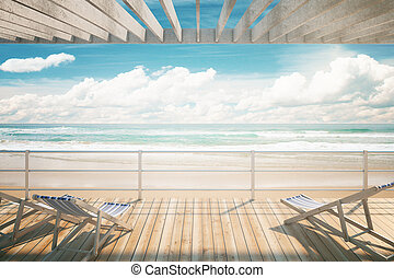 Chaise longues at the seaside - Chaise longues under awning...