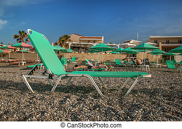 Chaise-longues on the beach