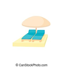 Chaise longues under umbrella icon, cartoon style