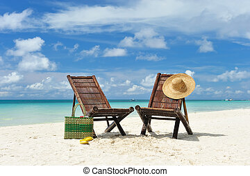 Chaise lounge at beach - Beautiful beach with chaise lounge