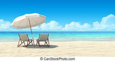 chaise lounge, en, paraplu, op, zand, strand.