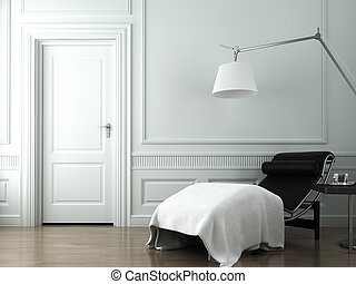 chaise lounge, op wit, classieke, muur