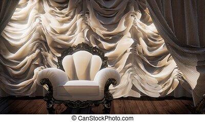 chaise, luxueux, étape, théâtre, rideau