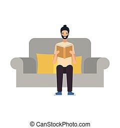 chaise, mains, livre, séance homme