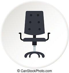 chaise, milieu noir, bureau, icône