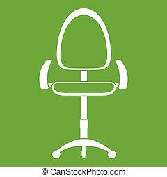 chaise, moderne, vert, bureau, icône