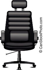 chaise, noir, bureau