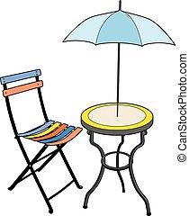 chaise, parasol