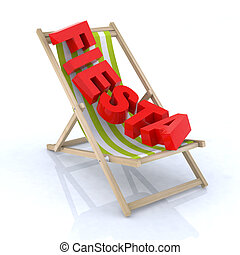 """chaise, plage, écrit, """"fiesta"""""""