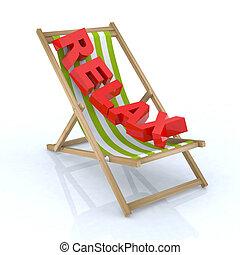chaise, plage, écrit, relâcher