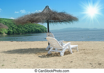 chaise plage, et, parapluie