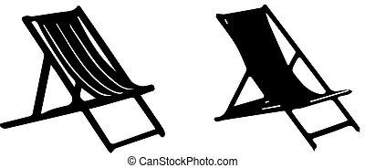 chaise, plage, fond blanc, icône