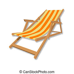 chaise, plage, illustration