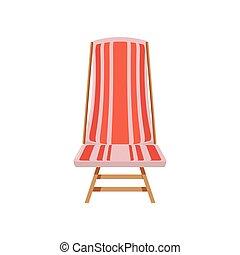 chaise, plage, isolé, icône