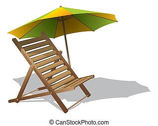 chaise plage, parapluie