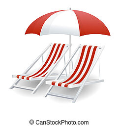 chaise plage, parapluie, isolé