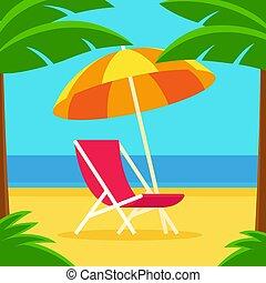 chaise plage, parapluie, scène