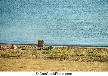 chaise, plage, pont
