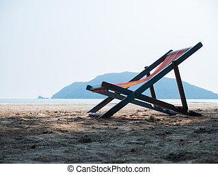 chaise, plage, sablonneux, pont