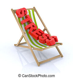 chaise, plage, tension, écrit