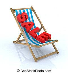 chaise, plage, vente, écrit