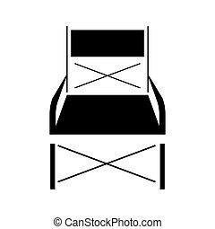 chaise pliante, noir, icône