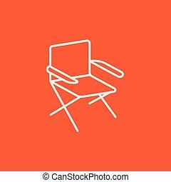 chaise, plier, ligne, icon.