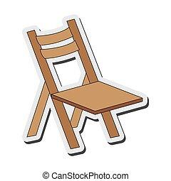 chaise, plier, singlen, icône