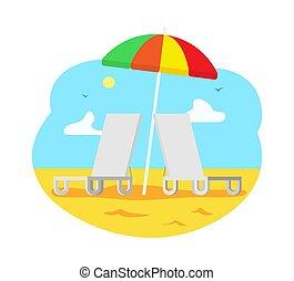 chaise, praia, sol, guarda-chuva, longue