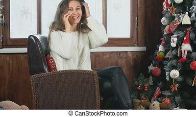 chaise, quoique, girl, téléphone, conversation, séance