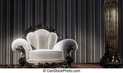 chaise, rideau, théâtre, étape, luxueux