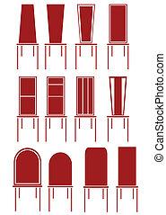 chaise, rouges, illustration