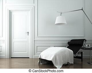 chaise salle, blanc, classique, mur