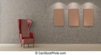 chaise, salle moderne, vide