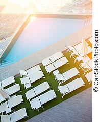 chaise, salones, piscina, natación